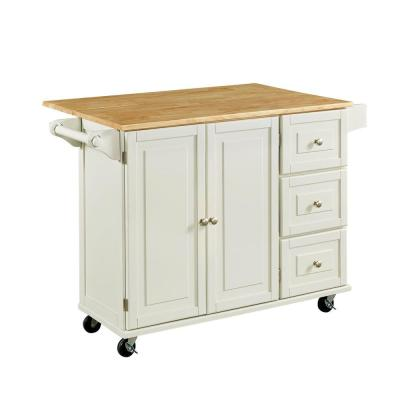 Liberty 53.5 in. W Wood Kitchen Cart in White Product Photo