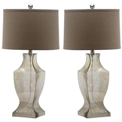 Glass Bottom 28.5 in. Antique Silver Table Lamp with Wheat Shade