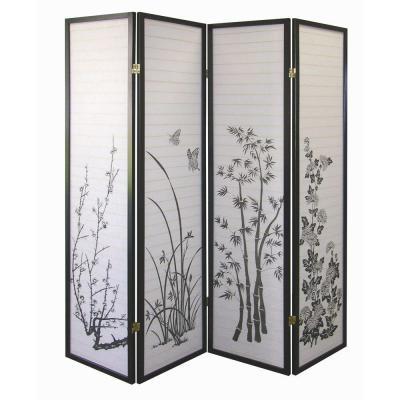 Home Decorators Collection 4-Panel Natural-Fiber Room Divider with Scenery