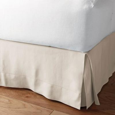 Solid Washed 18 in. Linen Bed Skirt
