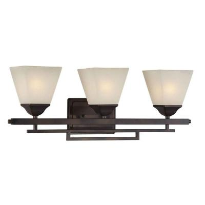 Talista Giorgia 3-Light Antique Bronze Bath Vanity Light with Shaded Umber Glass