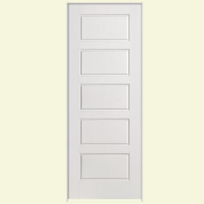 36 in. x 80 in. Solidoor Riverside Smooth 5-Panel Equal Solid Core Primed Composite Single Prehung Interior Door Product Photo