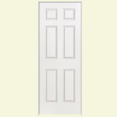 30 in. x 80 in. Smooth 6-Panel Hollow Core Primed Composite Single Prehung Interior Door Product Photo