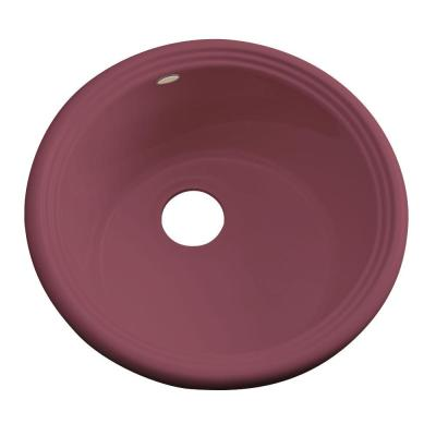 Thermocast Hampton Drop-In Acrylic 18 in. Single Bowl Entertainment Sink in Raspberry Puree