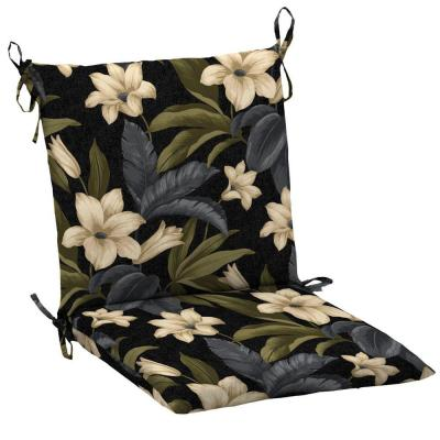 Hampton Bay Black Tropical Blossom Outdoor Dining Chair Cushion