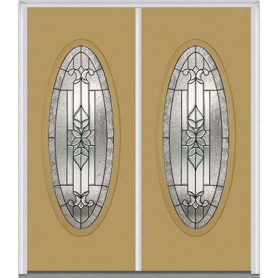 60 in. x 80 in. Cadence Decorative Glass Full Oval Lite Painted Majestic Steel Double Prehung Front Door Product Photo