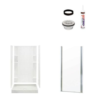 STERLING Ensemble Tile 34 in. x 36 in. x 75-3/4 in. Shower Kit with Shower Door in White/Chrome-DISCONTINUED