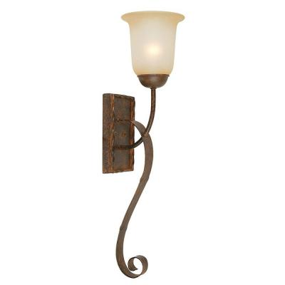 McKensi Collection 1-Light Bronze Patina Sconce with Alabaster Glass Shade