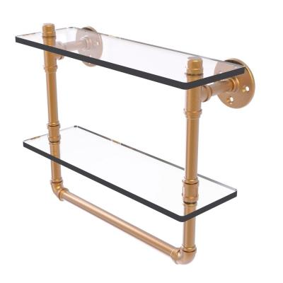 Allied Brass Pipeline Collection 16 in. Doulbe Glass Shelf with Towel Bar in Brushed Bronze