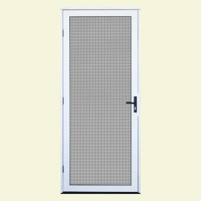 32 in. x 80 in. White Surface Mount Outswing Security Door