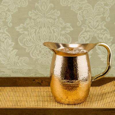 2 qt. Solid Copper Hammered Water Pitcher with Brass Handle