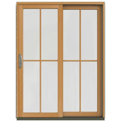 59-1/4 in. x 79-1/2 in. W-2500 Chestnut Bronze Prehung Right-Hand Clad-Wood Sliding Patio Door with 4-Lite Grids Product Photo