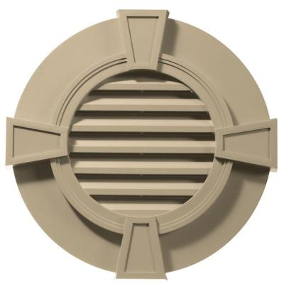 30 in. Round Gable Vent with Keystones in Light Almond