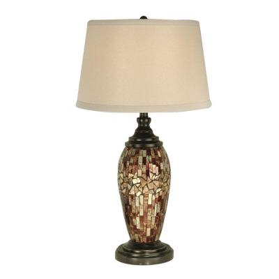 30 in. Mosaic Oval Dark Antique Bronze Table Lamp with Art
