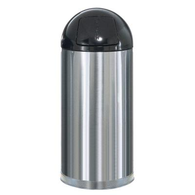 Rubbermaid Commercial Products Marshal 15 Gal. Satin Stainless Steel Round Top Trash Can