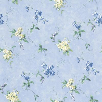 The Wallpaper Company 56 sq. ft. Blue Large Floral Trail Wallpaper-DISCONTINUED