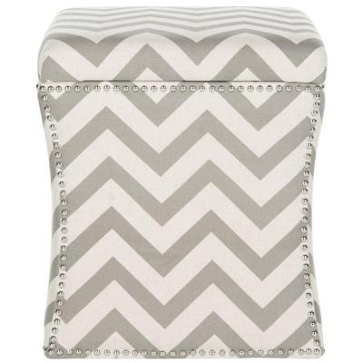 Flora Grey Zigzag Solid Wood Linen Ottoman Product Photo