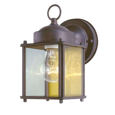 1-Light Sienna Steel Exterior Wall Lantern with Clear Glass Panels