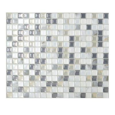 Smart Tiles Minimo Noche 9.64 in. x 11.55 in. Adhesive Decorative Wall Tile Backsplash in Grey