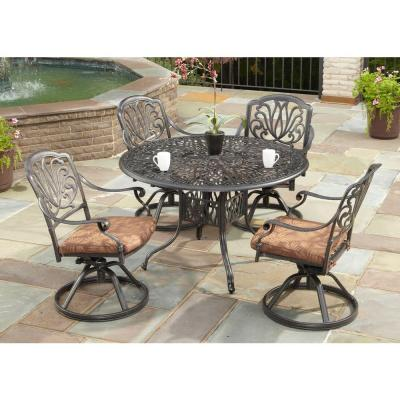Floral Blossom 42 in. Round 5-Piece Swivel Patio Dining Set with Burnt Sierra Leaf Cushions