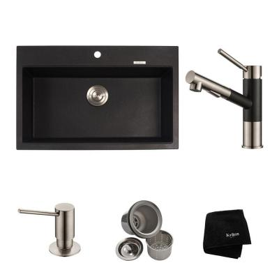 KRAUS All-in-One Dual Mount Granite Composite 31 in. Single Basin Kitchen Sink with Faucet in Stainless Steel and Black Onyx