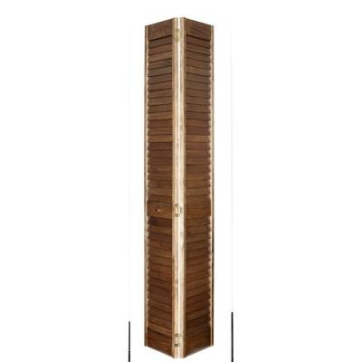 Home Fashion Technologies 2 in. Louver/Louver MinWax Special Walnut Solid Wood Interior Bifold Closet Door-DISCONTINUED