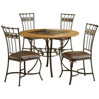 Lakeview 45 in. Dia 5-Piece Round Brown Copper Dining Set with