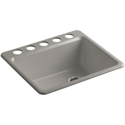 Riverby Undermount Cast-Iron 25 in. 5-Hole Single Bowl Kitchen Sink with