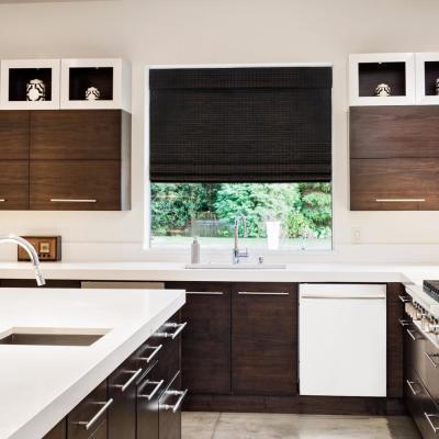 Cordless Espresso Semi-Private Bamboo Roman Shade Window Blinds