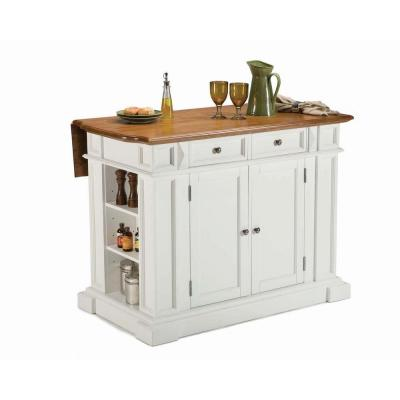 Home Styles Kitchen Island 49-3/4 in. W in White with Oak and 2 Stools