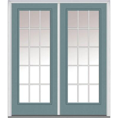 60 in. x 80 in. Classic Clear Glass GBG Full Lite Painted Majestic Steel Double Prehung Front Door Product Photo