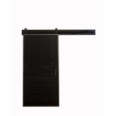 42 in. x 84 in. Mountain Modern Matte Black Wood Barn Door with Mountain Modern Sliding Door Hardware Kit Product Photo