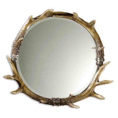 26 in. x 24 in. Stag Horn Round Framed Mirror Product Photo