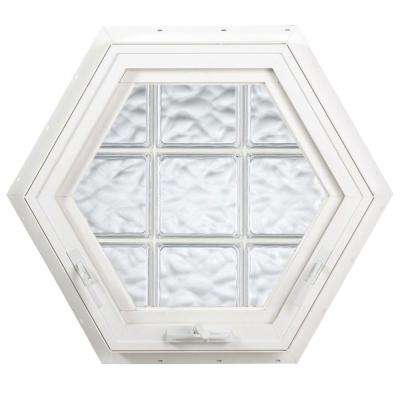 Hy-Lite 27.75 in. x 24 in. Acrylic Block Hexagon Awning Vinyl Window - White