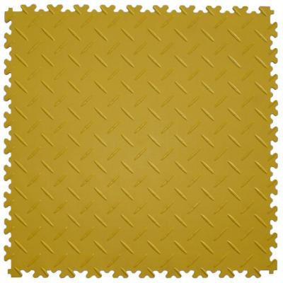 IT-tile Diamond Plate Yellow 20.5 in. x 20.5 in. Residential Commercial Interlocking Multi-Purpose Flooring, 8 Tile-DISCONTINUED