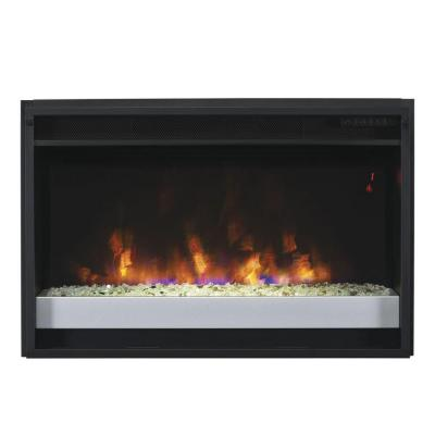 26 In Contemporary Electric Fireplace Insert With Flush Mount Trim Kit 85859 Bb The Home Depot