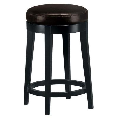 home decorators collection dark brown leather non tufted backless swivel counter stool. Black Bedroom Furniture Sets. Home Design Ideas