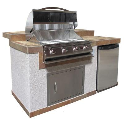 Cal flame 6 ft pavilion outdoor kitchen island with 4 burner stainless steel propane gas grill - Home depot bbq propane ...