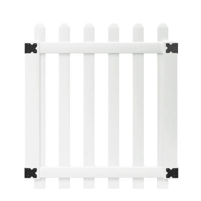 3.5 ft. x 4 ft. White Vinyl Glendale Spaced Picket Fence Gate with 3 in. Dog Ear Pickets Product Photo