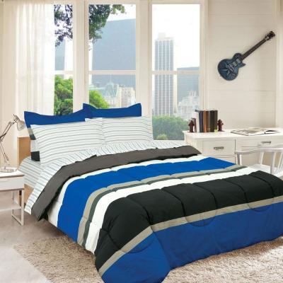 Rugby Stripe Bed in a Bag with Reversible Comforter
