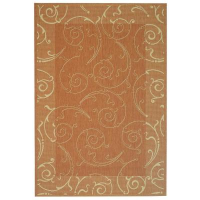 Courtyard Terracotta/Natural 5 ft. 3 in. x 7 ft. 7 in.
