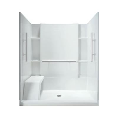 STERLING Accord 36 in. x 60 in. x 74-1/2 in. Shower Kit with Seat and Grab Bars in White