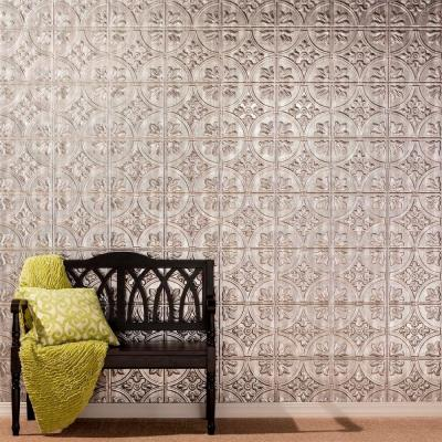 Fasade 96 in. x 48 in. Traditional 2 Decorative Wall Panel in Crosshatch Silver