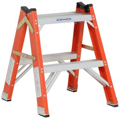 Werner 2 Ft Fiberglass Twin Step Ladder With 300 Lb Load