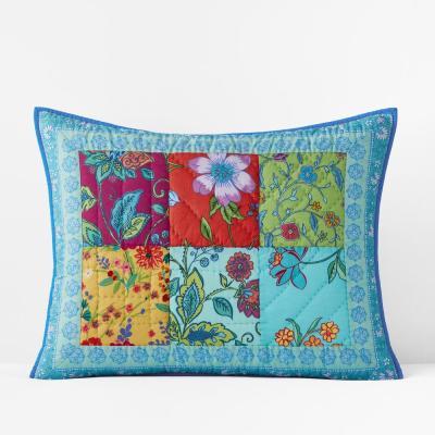 Sea Bright Patchwork Handcrafted Multicolored Cotton Sham