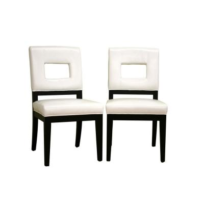 Faustino Cream Leather Dining Chair in White (Set of 2)