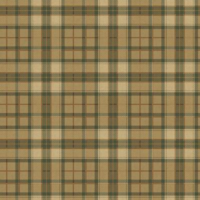 8 in. x 10 in. Green and Brown Fabric Plaid Wallpaper Sample Product Photo