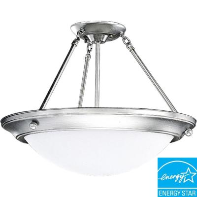 Progress Lighting Eclipse Collection Brushed Steel 3-light Semi-flushmount P7328-13EBWB