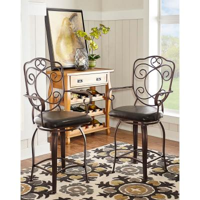 Home Decorators Collection Crested Back 24 in. Brown Swivel Cushioned Bar Stool