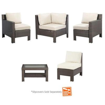 Beverly 5-Piece Patio Sectional Seating Set with Cushions Insert (Slipcovers